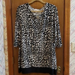 Animal Print Blouse with Silver Accent at the Neck